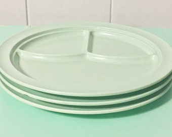 VIntage Mint Prolon Ware School Lunch Plates; Aqua Melamine Divided plates