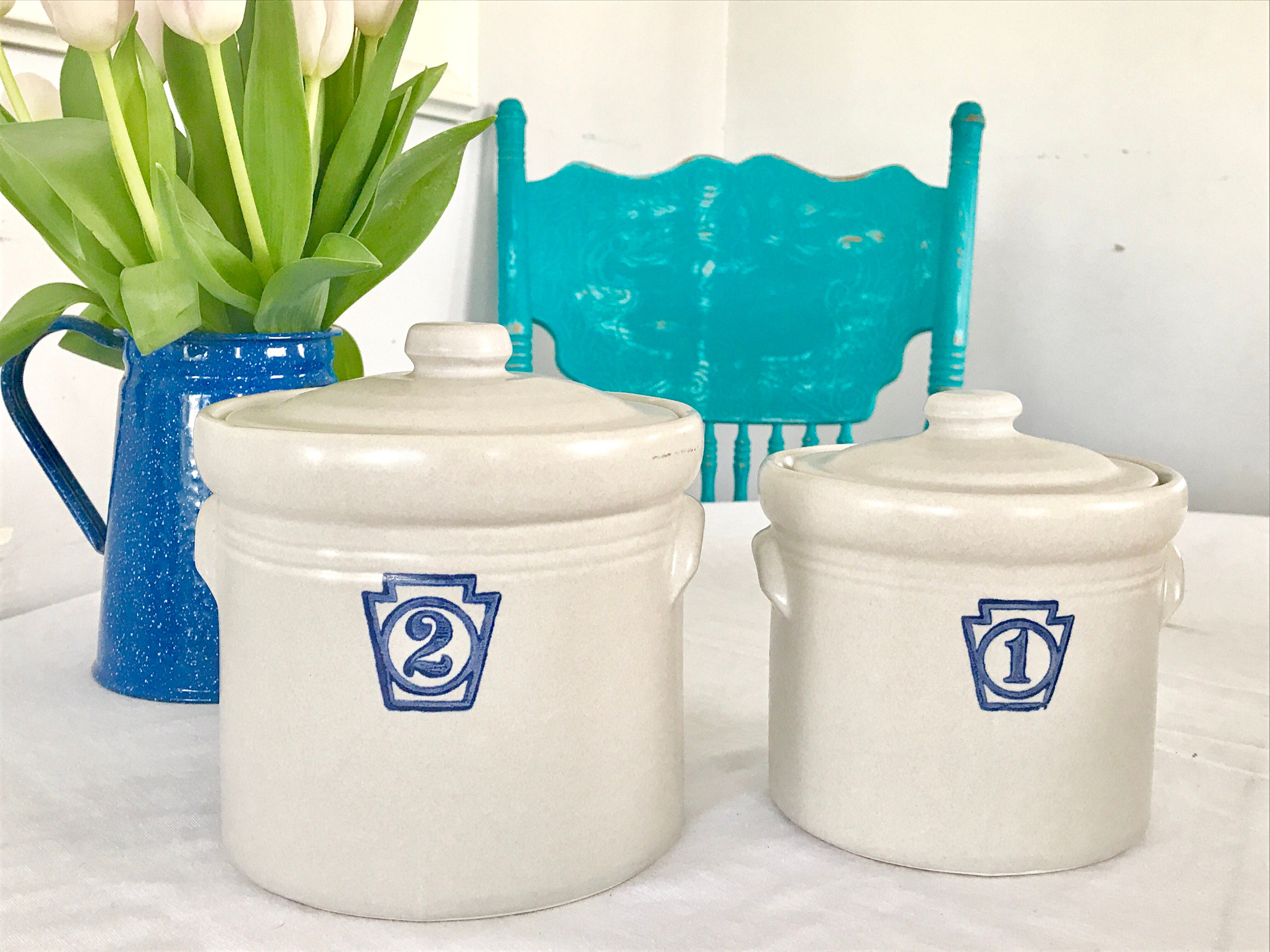 Vintage Farmhouse style Pfaltzgraff french Kitchen Canisters 1