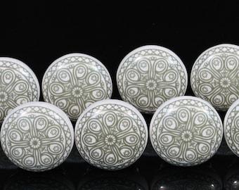 Lot of Greenish Grey mandala design Ceramic Knobs for Cabinet Dresser  Drawers poignées céramique cabinet pulls