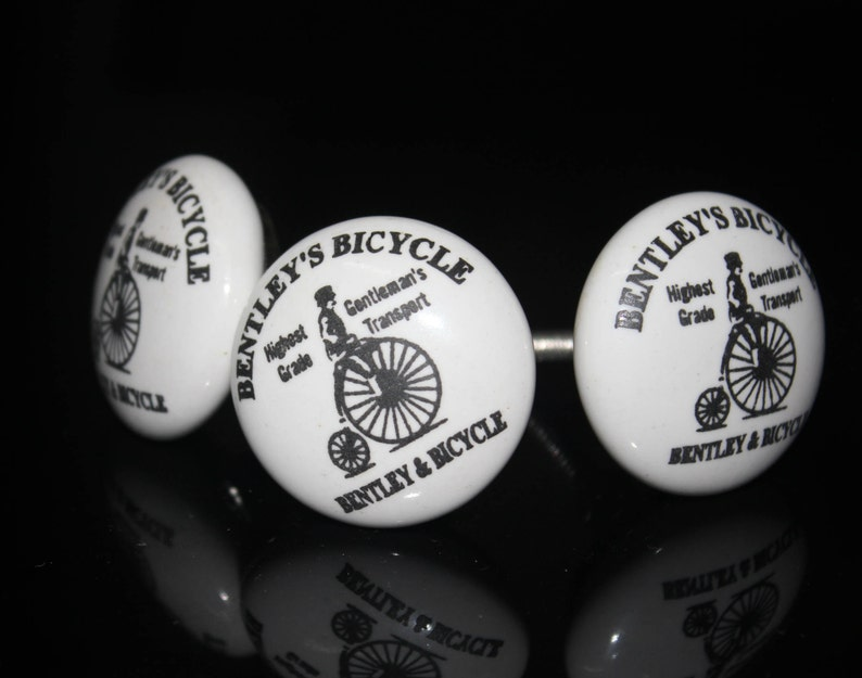 Old Bicycle design Ceramic Knob with white base Handpainted Cabinet Knob Cupboards and Dresser Drawers Knob Price is for 1 knob OHK0041