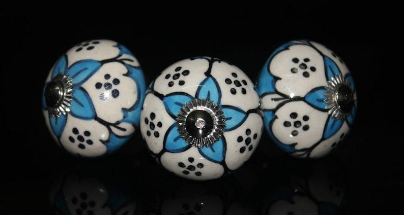 Blue /& white leaf design Ceramic Knob blue base Handpainted Cabinet Knob Cupboards and Dresser Drawers Knob OHK0071 Price is for 1 knob