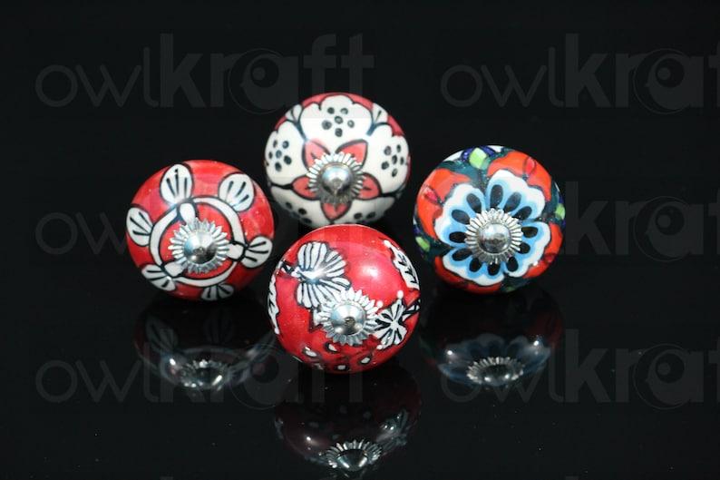 Assorted lot of Red Theme design Ceramic Knobs for Cabinet Dresser Drawers poign\u00e9es c\u00e9ramique cabinet pulls Perillas Boutons CRKS005