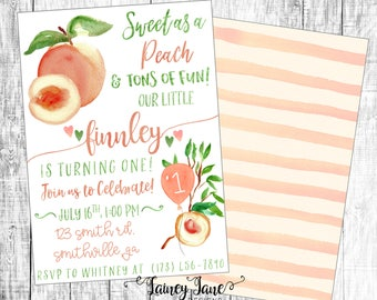 peach invitation etsy