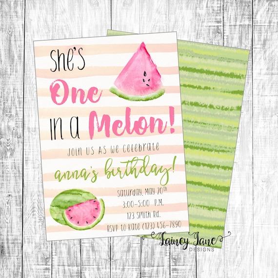 Watermelon Birthday Party Invitation Custom