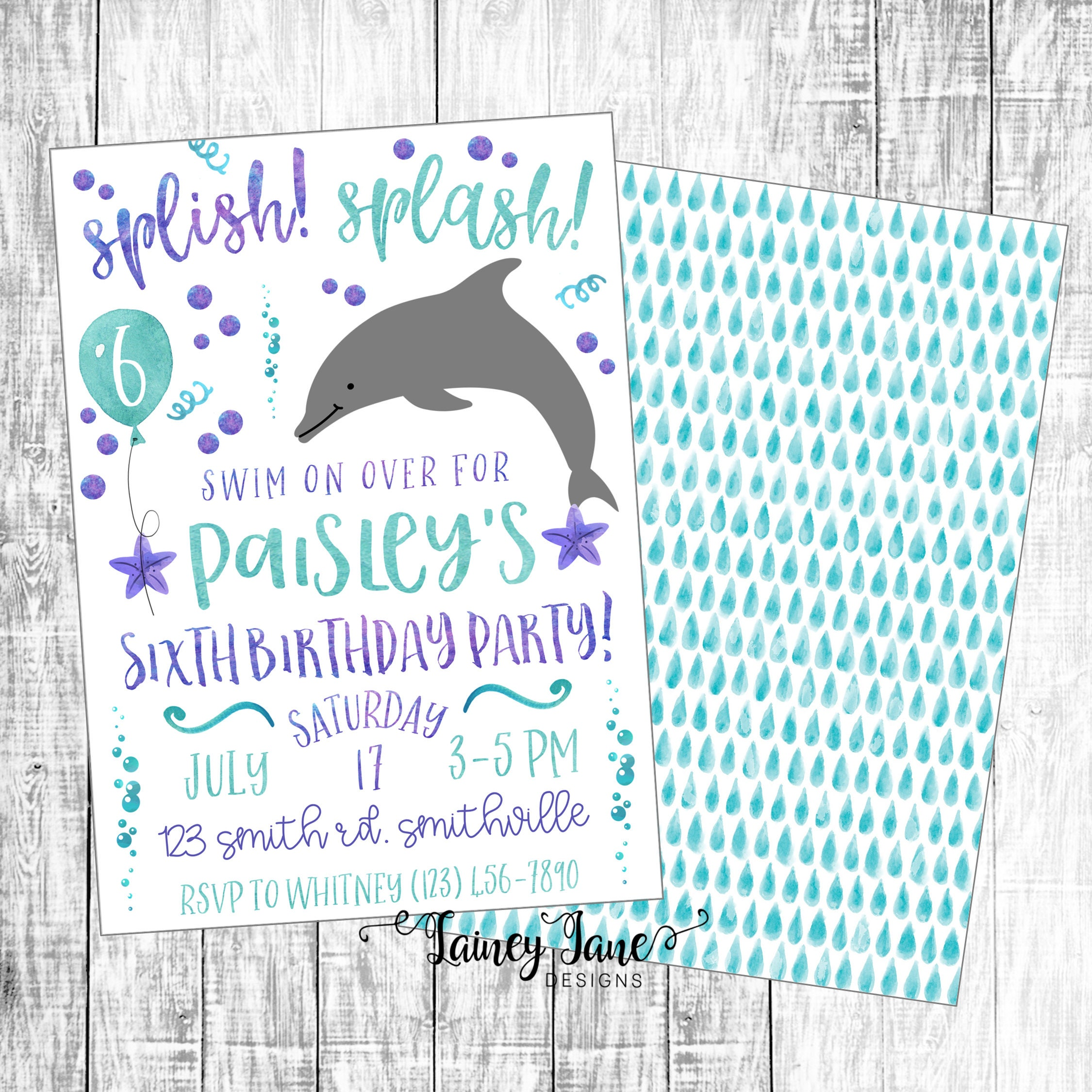 Birthday Invitation Dolphin Invitation Pool Party | Etsy