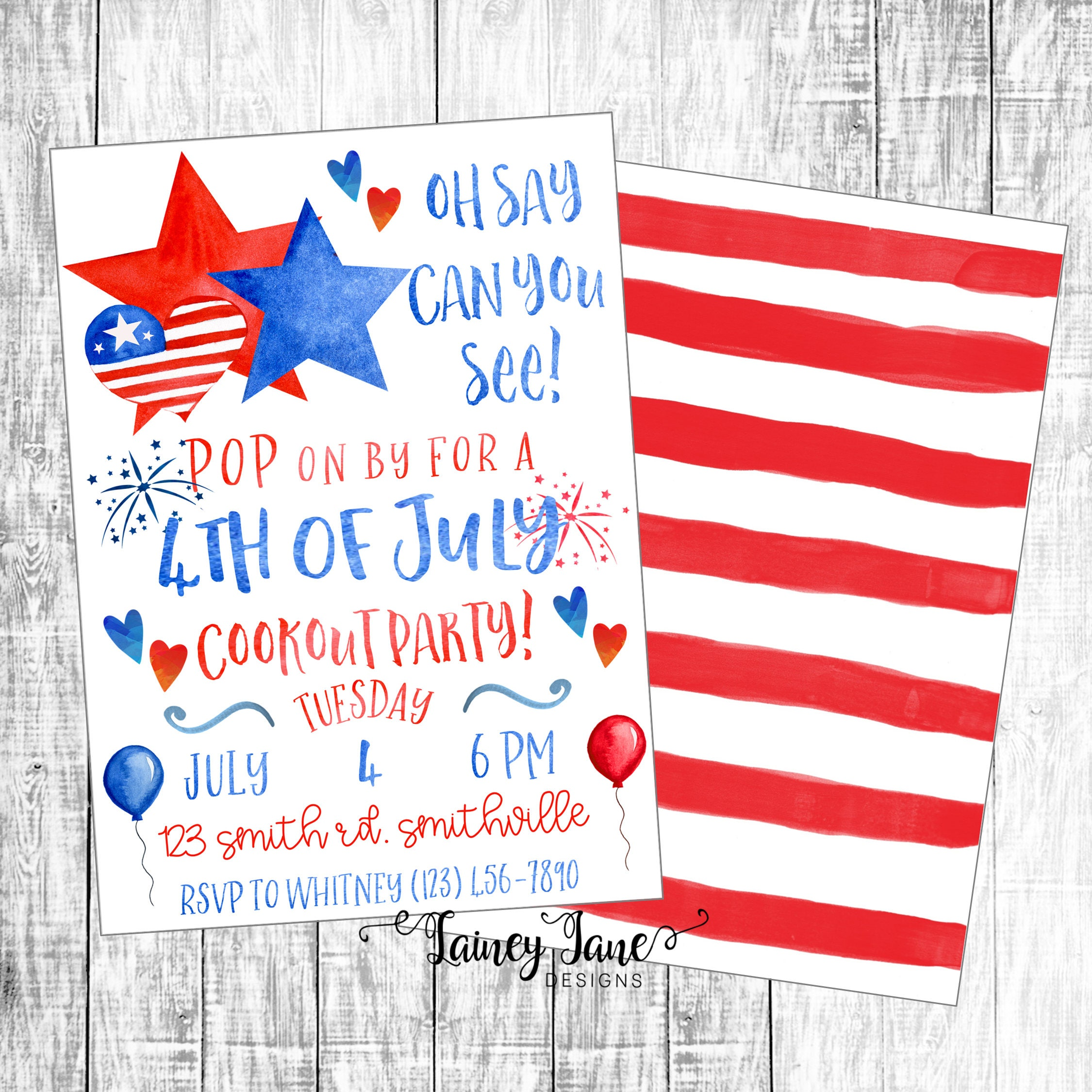 Cookout Party Invitation 4th of July Invitation Patriotic   Etsy