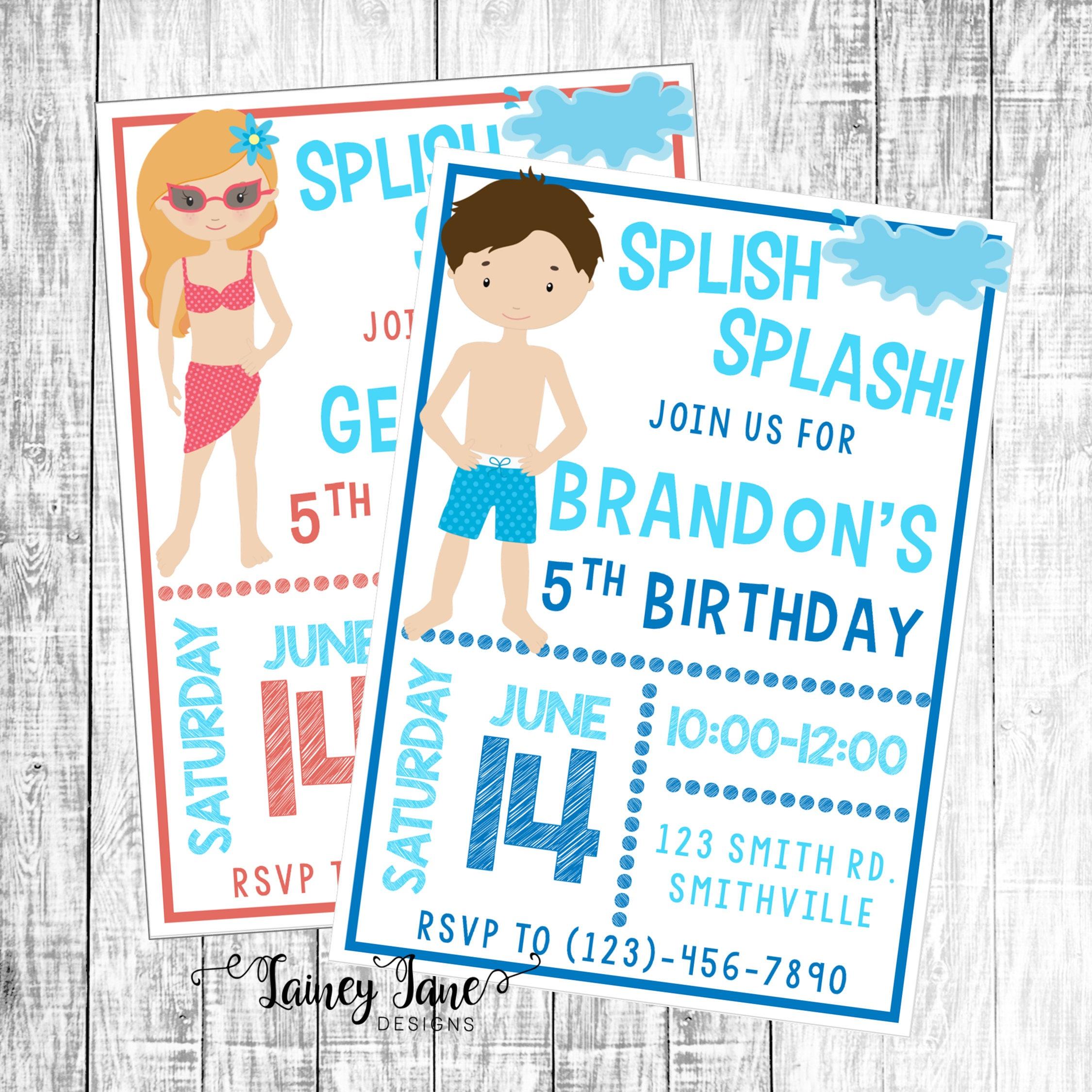 Swim Party Invitation Swimming Birthday Customized Pool