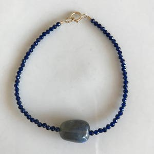 Blue Sapphire ~ Black Tourmaline Genuine Untreated ~ Gold ~ Therapeutic Quality Gemstone Energy Bracelet 4mm