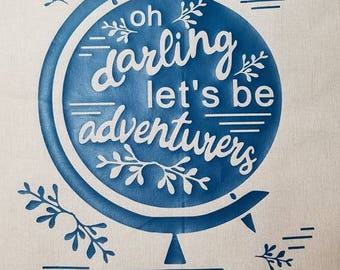 LETS BE ADVENTURERS tote market grocery eco friendly canvas shopping bag