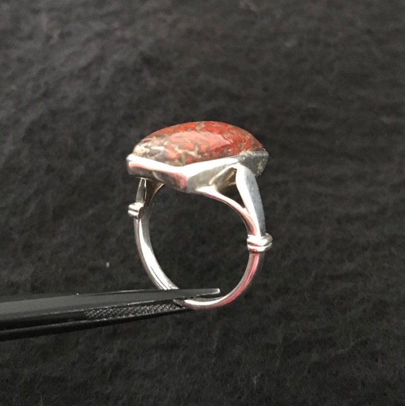 size 5 free shipping Dinosaur bone set in sterling silver turningleafjewelryco hand made one of a kind