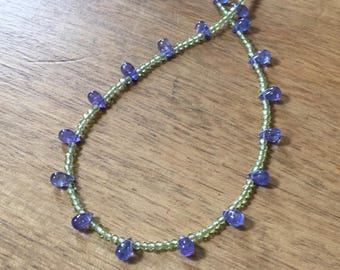 Tanzanite and Peridot Choker Necklace, Peridot Beads Necklace, Blue and Green Beads Necklace