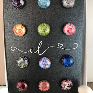 set of 8 Multi Color Glitter Heart Magnetic DrinkWine Charms