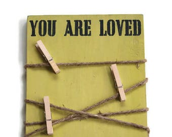 Green Picture Holder, Jute Picture Holder, You Are Loved Sign, Rustic Kids Decor, Green Nursery Sign, Boy Nursery Decor, Baby Shower Gift