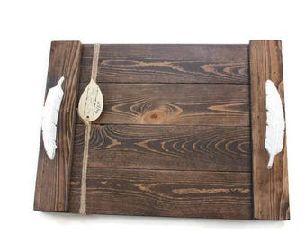 Feather Tray, Rustic Wood Tray, Farmhouse Tray, Rustic Serving Tray, Coffee Table Decor, Rustic Centerpiece, White Tray, Shabby Decor