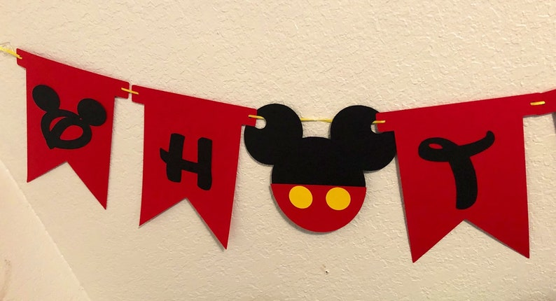 Mickey Mouse Decoration Oh Two-Dles Birthday Banner Minnie Mouse Decor Mickey Second Birthday Mickey Mouse Birthday Banner Oh Twodles