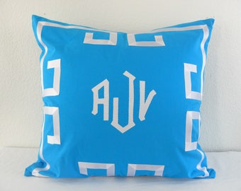 Greek Key Monogram Grosgrain Ribbon Applique Euro Pillow Sham/Cover