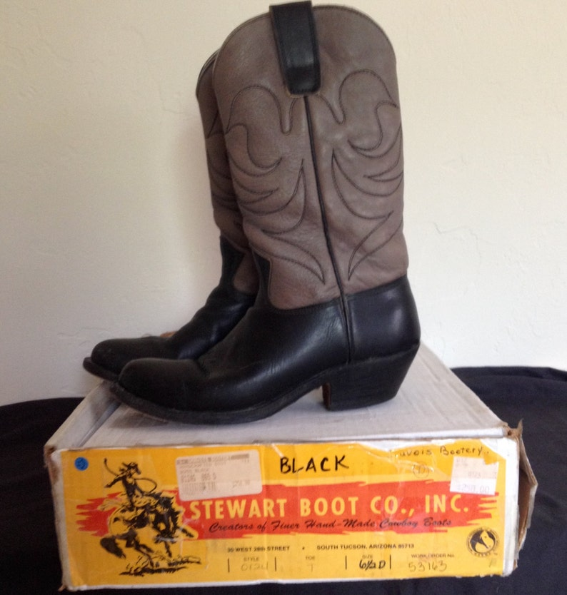 ed374fe38ea6f Stewart Cowboy Boots-in box, Handmade in Tucson, Southwestern Wear, Gray  and Black colored, Women's 7 or 7.5