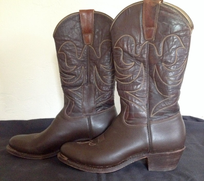 e7ae5354809c7 Stewart Cowboy Boots, Handmade in Tucson, Southwestern Wear, Vintage,  Chocolate Brown colored, Women's 7 or 7.5
