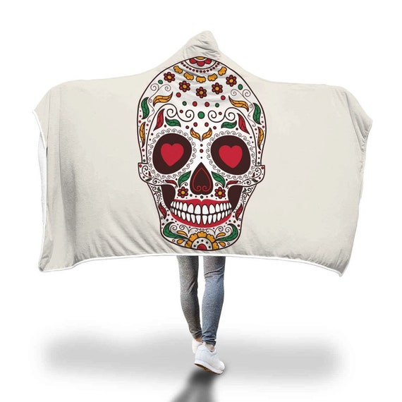 Sugar Skull Hooded Blanket Heart Eyes Mexican Pattern  c7a40c7b5c20