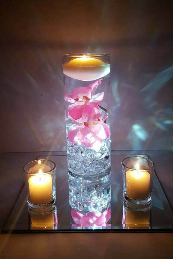 Wedding Centerpiece Floating Candle Vase Pink Decor Pink Etsy