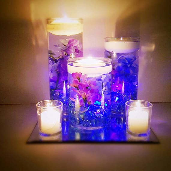 Wedding Centerpiece Floating Candle Centerpiece Purple Etsy