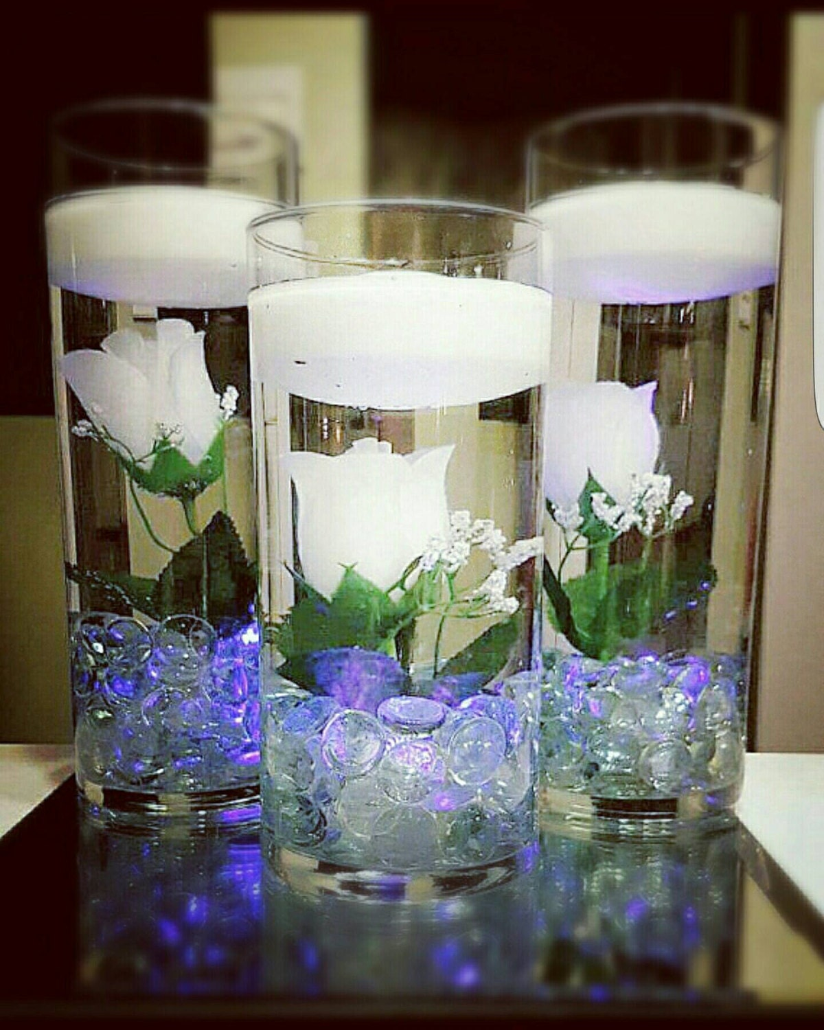Floating Candle Centerpiece White Roses White Decor Wedding