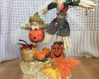 Vintage Haybale Assemblage- Scarecrows- Pumpkins