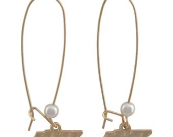 Gold Tennessee Earrings- Gold Tennessee Accessories- Tennessee Jewelry- Tennessee Accessories- Volunteer State Jewelry- Vols Earrings- Vols-