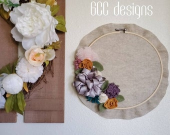 Personalized Floral Wall Hanging, Boho Wall decor, chabby chic style, natural Farmhouse decoration, Home/Office, Ribbon Floral, Nursery