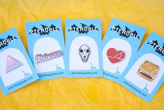 Menhera Punk B Grade Pin with Cursive Lettering Flair Creepy Cute Heinous Hard Enamel Pin Seconds Sale Yami Kawaii and Pastel Goth Pins