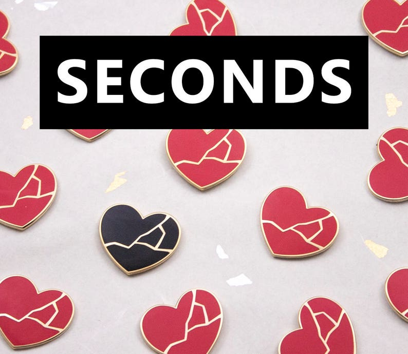 Seconds Sale Red Kintsugi Heart Pin in Red or Black  image 0