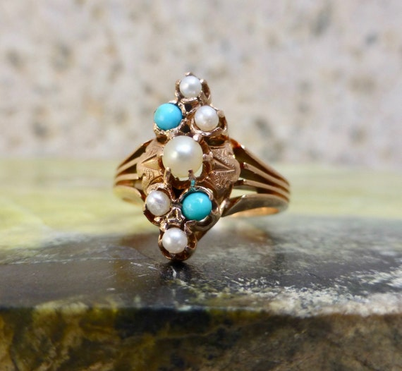Victorian Turquoise Ring, Persian Turquoise and Pe