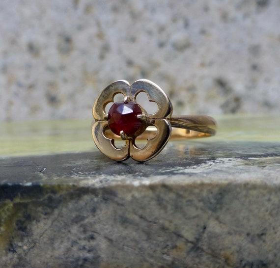 Art Deco Garnet Ring, Antique Bohemian Garnet Ring
