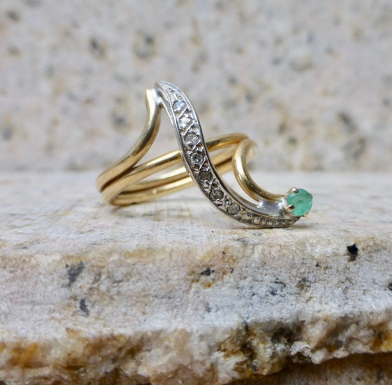 Emerald and Diamond Ring, Emerald Engagement Ring… - image 3