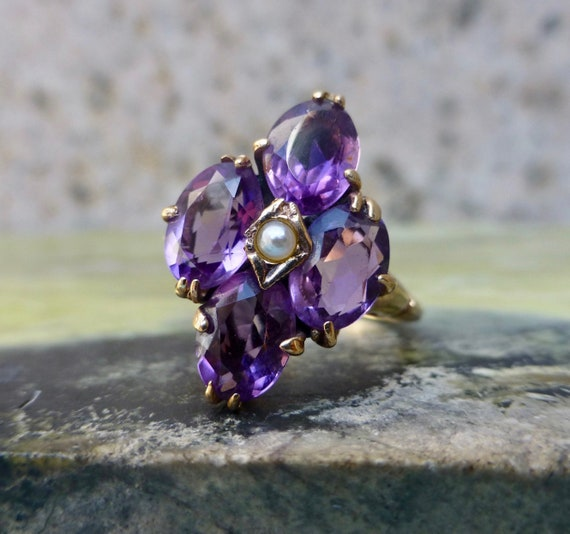 Art Deco Amethyst and Pearl Ring, Antique Amethyst