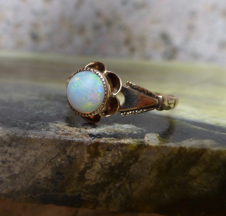 Antique Opal Ring Buttercup Opal Ring Natural Opal Ring Opal and Gold Ring Art Deco Opal Ring Vintage Opal Ring Antique Opal Solitaire