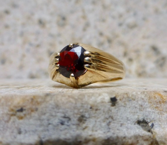 Victorian Inspired  Garnet Ring, Vintage Gold and