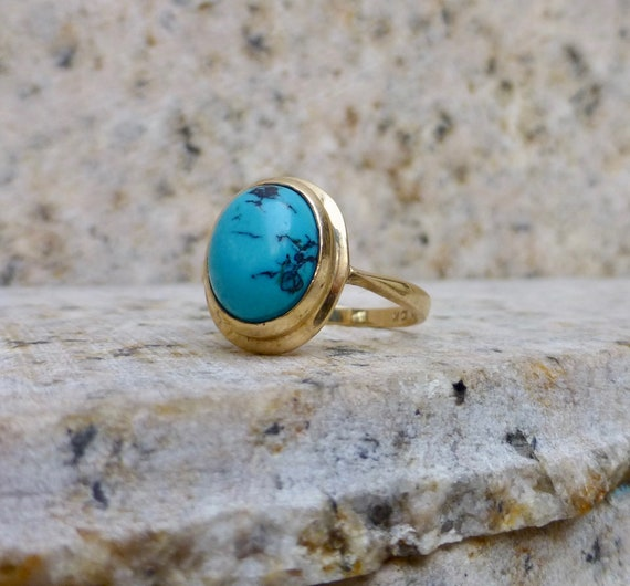 Vintage Turquoise and Gold Ring, Natural Turquoise