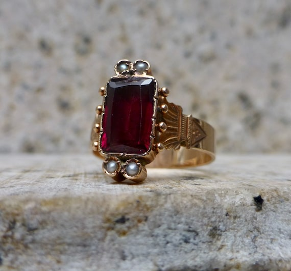Victorian Garnet Ring, Antique Garnet Band, Rose G