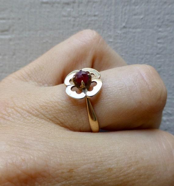 Art Deco Garnet Ring, Antique Bohemian Garnet Rin… - image 9