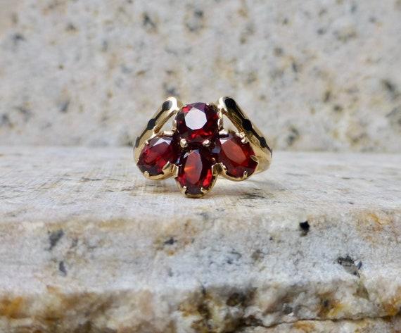 Mid Century Garnet Ring, Vintage Garnet Ring, Gar… - image 3