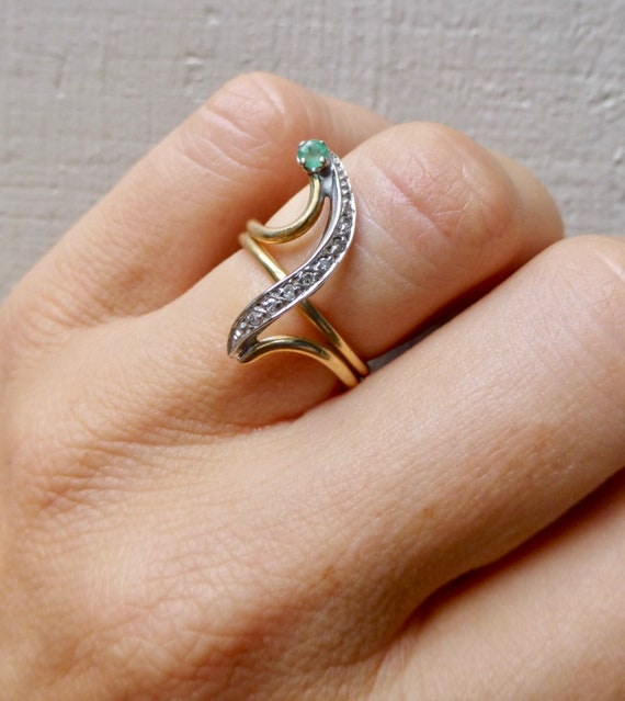 Emerald and Diamond Ring, Emerald Engagement Ring… - image 7