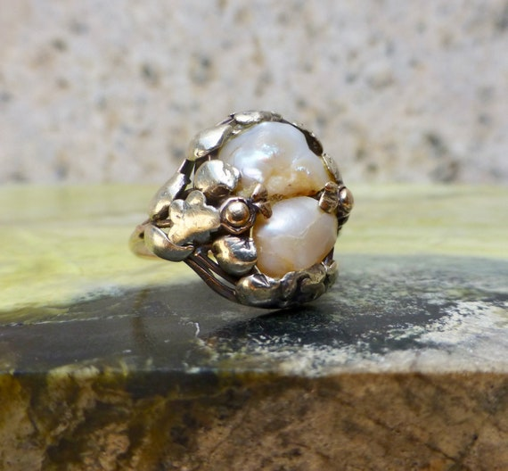 Arts and Crafts Pearl Ring, Antique Pearl Ring, Vi