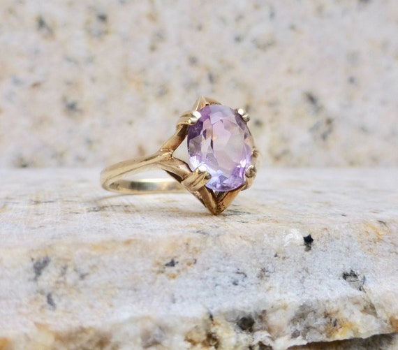 Modernist Amethyst Ring, Vintage Amethyst Ring, Am