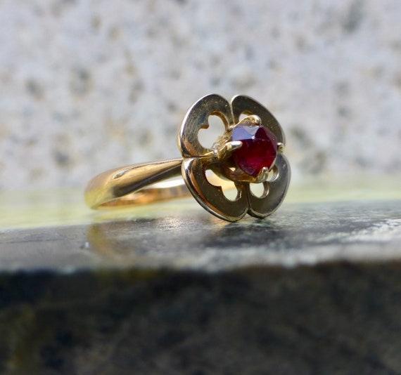Art Deco Garnet Ring, Antique Bohemian Garnet Rin… - image 2