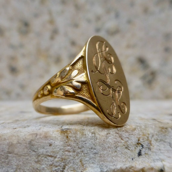 Late Victorian Gold Signet Ring, Antique Signet Ri