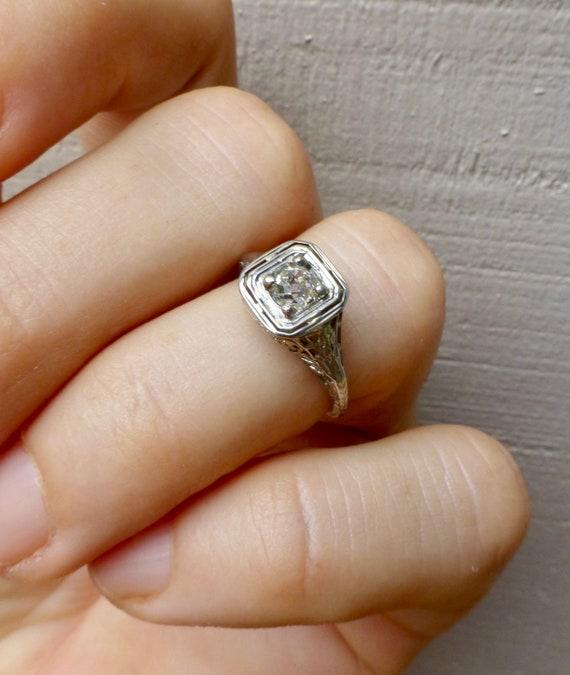 Art Deco Diamond Ring, Diamond Engagement Ring , … - image 10