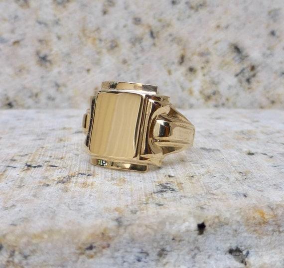 Art Deco Gold Signet Ring, Antique Signet Ring, Ar