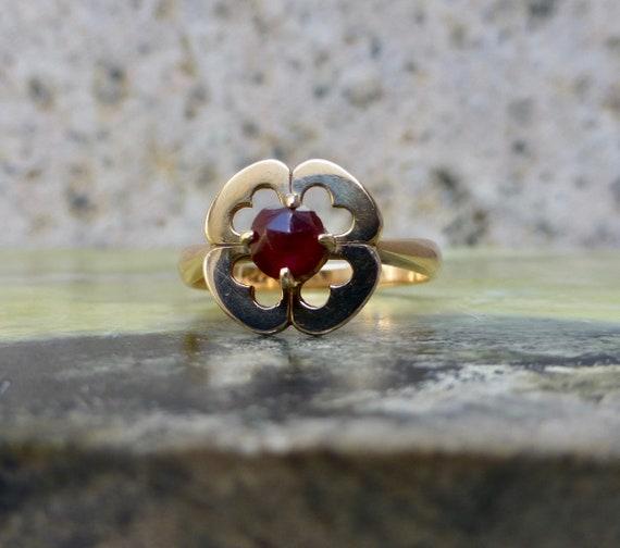 Art Deco Garnet Ring, Antique Bohemian Garnet Rin… - image 3