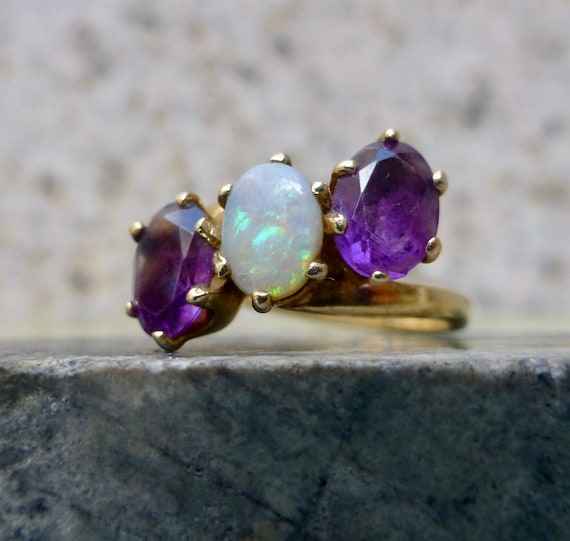 Art Deco Inspired Amethyst and Opal Ring, Vintage